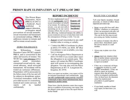 Prison Rape Elimination Act (PREA) of 2003